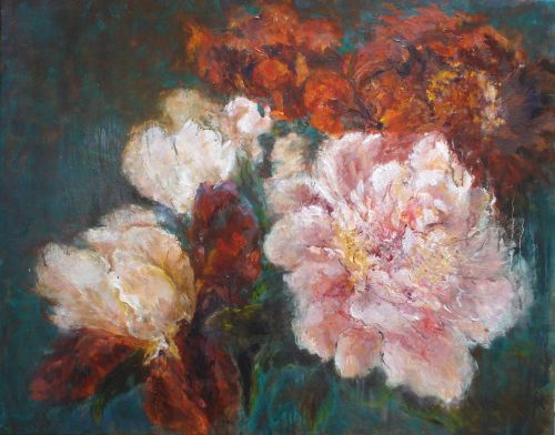 Peonies and Irises, Oil, 2010;  (Framed)