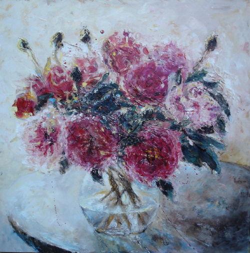 Peonies in vase; S O L D