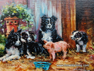 """Piggy in the Middle ( 14 x 18 """" )"""