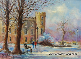 "Snow on Snow, Clongowes <p style=""font-size:12pt;"">(SOLD)</p>"