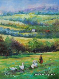"The Goose Girl (16 x 12"")"