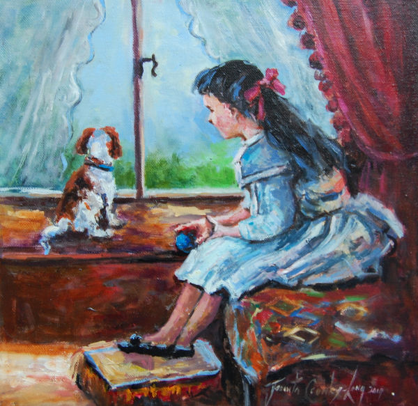 Doggie in the Window (12 x 12 inches)