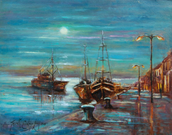 Moonlit Quay, Wexford (16 x 20 inches)