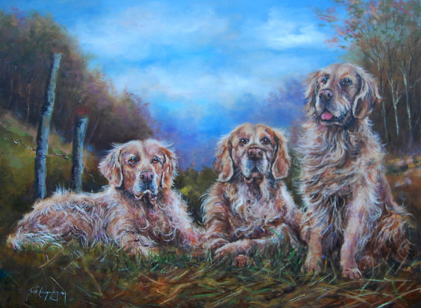 Golden Retrievers (30 x 40 inches)