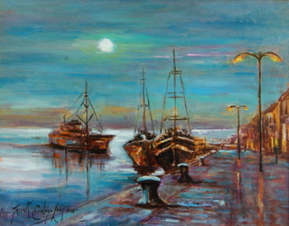 Moon Tide on the Quay, Wexford (16 x 12 inches)