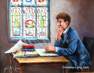 Scholar in the Library ,Clongowes (16insx14ins)
