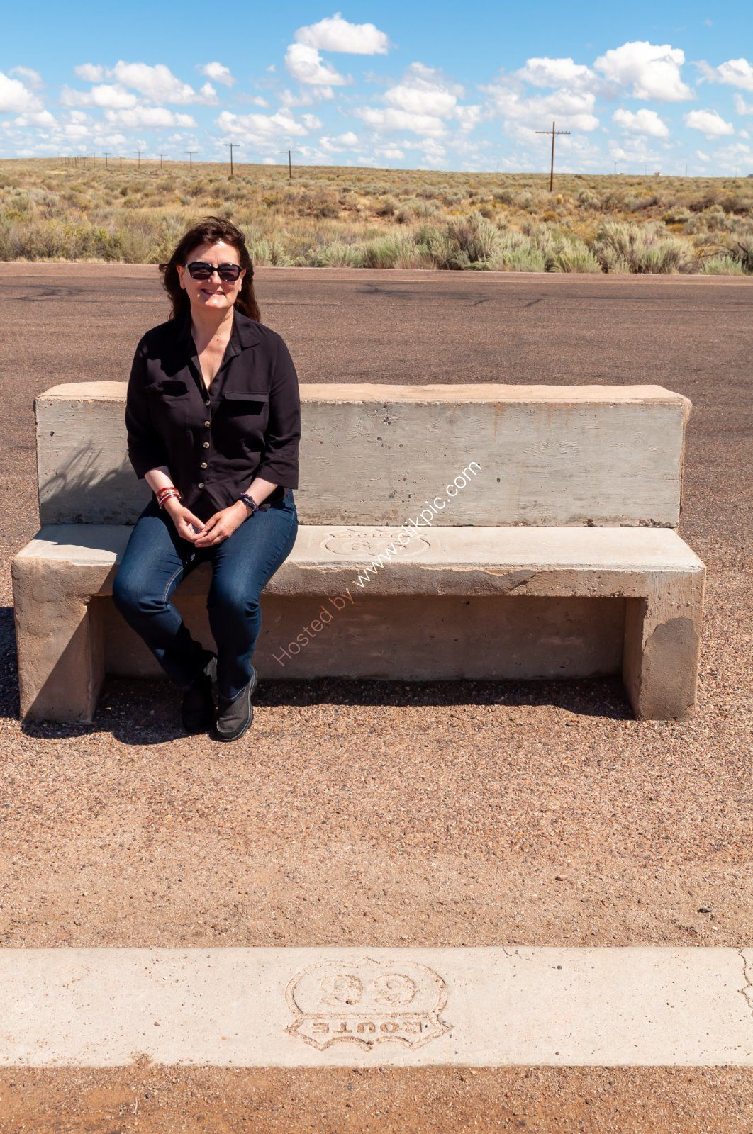 Jayne on the old Route 66 in the Petrified Forest near Holbrook, Arizona