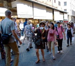 Tourists on the Ponte Vecchio