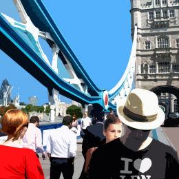(SOLD)  Tower Bridge painting 130 x 130 cm