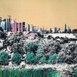 Jayson Lilley Looking at Canary Wharf