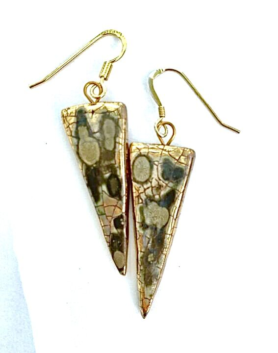 Triangle ceramic drop earrings with gold lustre.