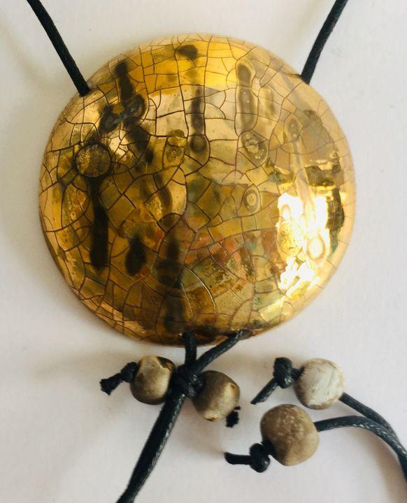 Large statement gold raku pendant.
