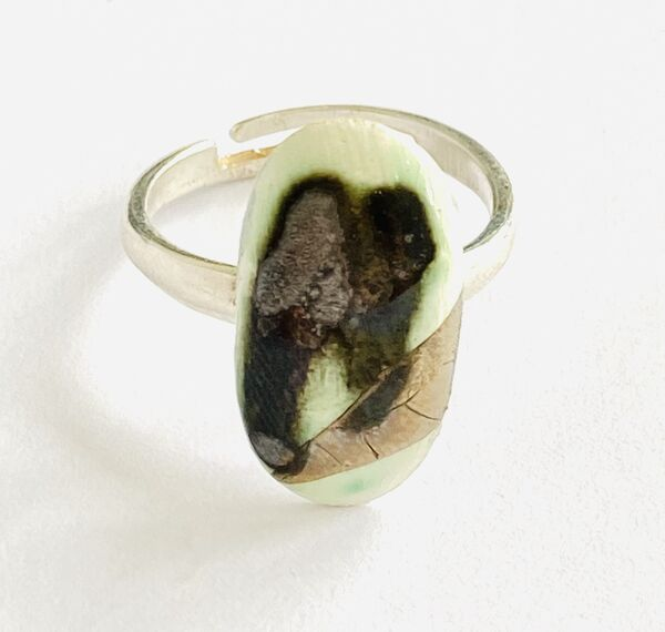 Porcelain and sterling silver ring