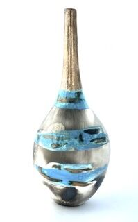 Blue smoke-fired pot with gestural markings crackled glaze and gold lustre.