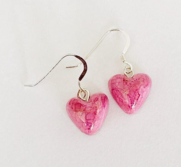 Pink heart ceramic drop earrings.
