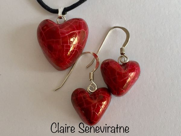 Red heart pendant and earrings set.
