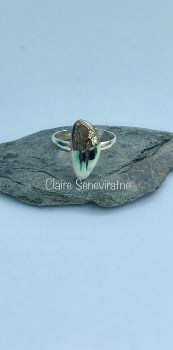Silver porcelain ring with black and green.