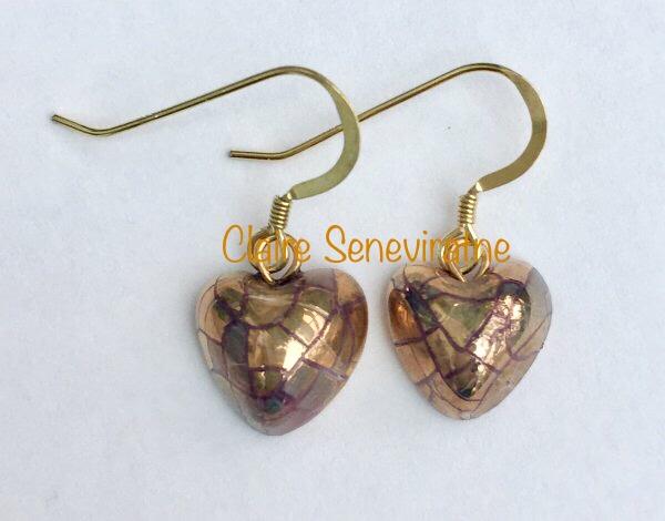 Small gold heart  earrings.