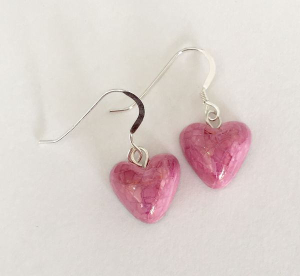 Pink heart ceramic drop earrings.