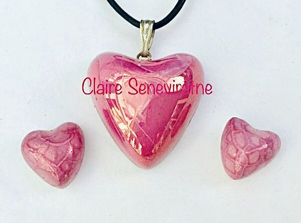 Pink lustre heart pendant with heart studs