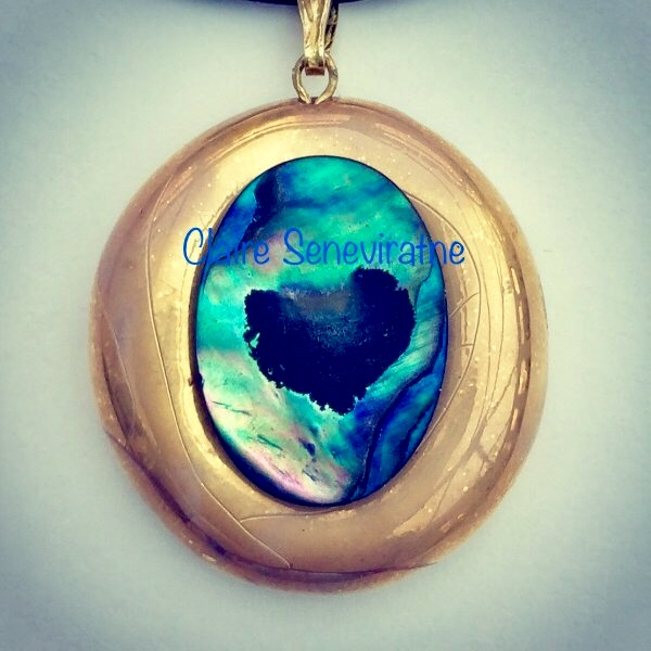 Natural love heart abalone shell and gold lustre pendant.