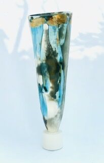 Large blue smoke-fired pot on stand with gold lustre.