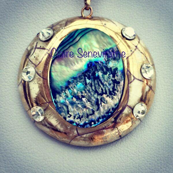Gold abalone pendant