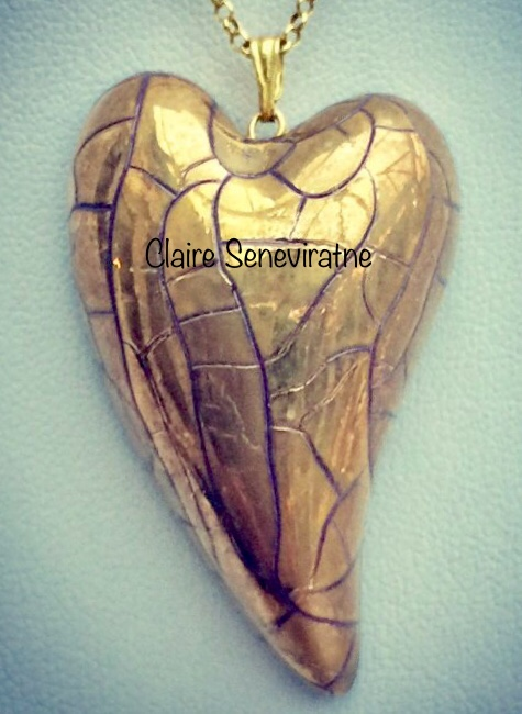 Gold lustre heart with vermeil chain