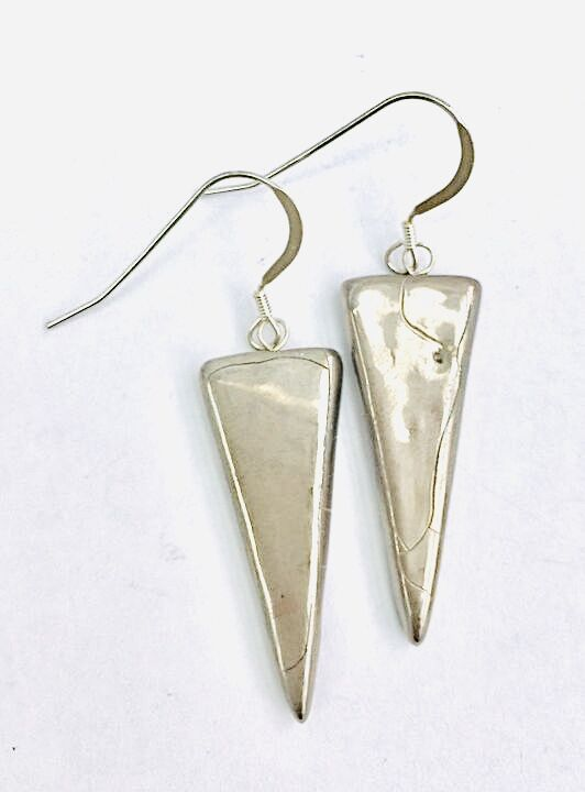 Triangle ceramic drop earrings with silver lustre.