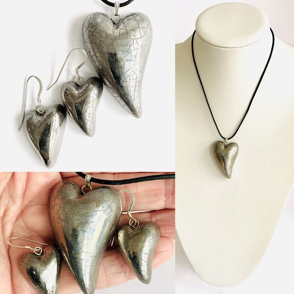 Silver porcelain heart set.