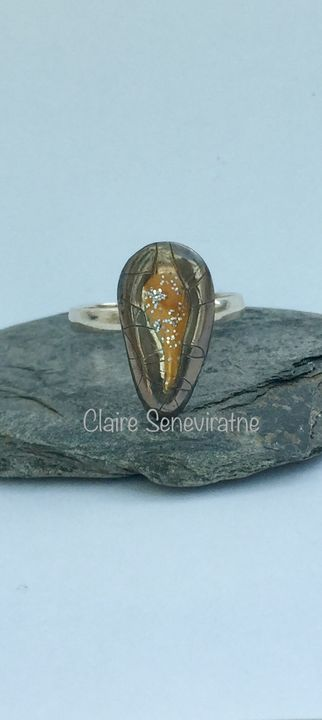 Porcelain ring with silver and gold.
