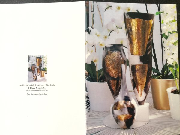 Art greeting card set of 3. Pots and Orchids.