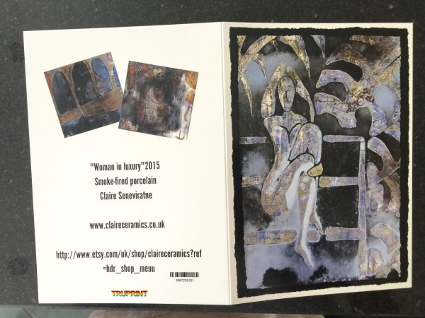 Art greeting cards set of 3. 'Woman in Luxury'.