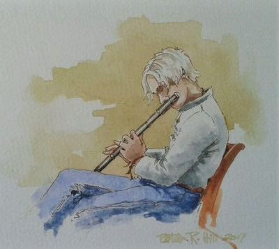 Boy Playing An Irish Flute