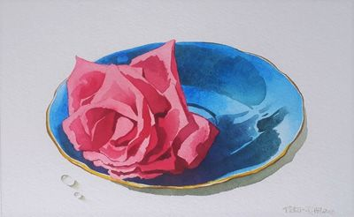 Compassion Rose In A Blue saucer