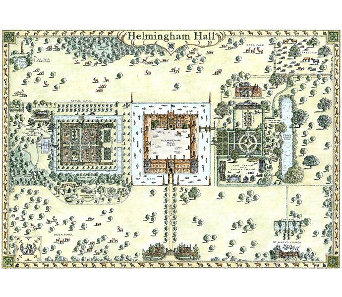 Helmingham Hall garden map
