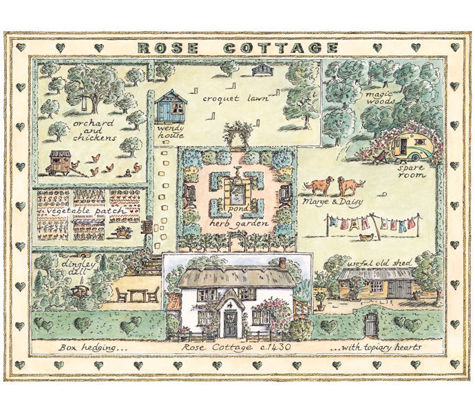 'Rose Cottage' greetings card design for Phoenix Trading