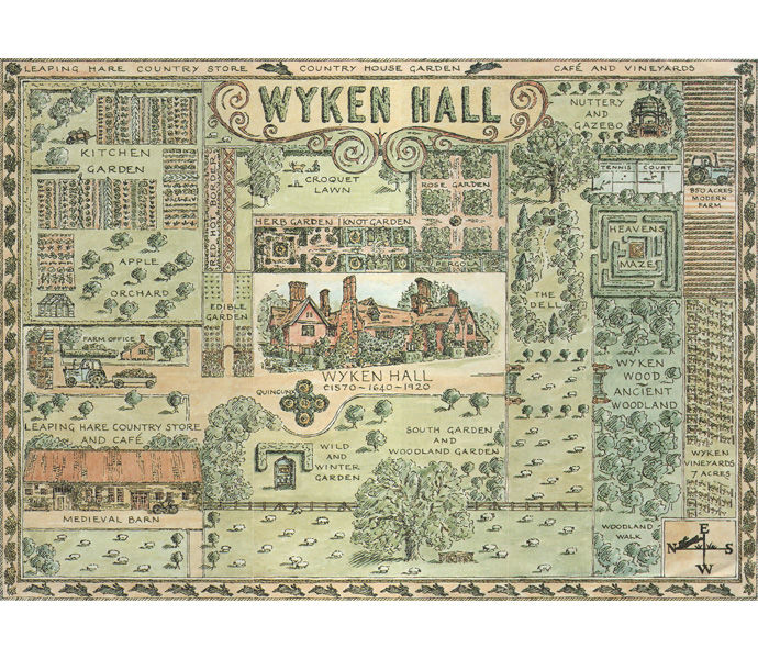 Wyken hall garden map for visitor leaflet