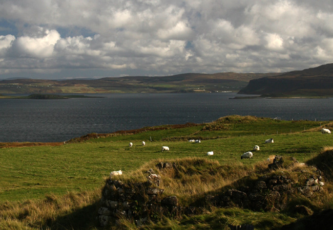 Looking across Loch Dunvegan from Galtrigill towards Waternish and Stein