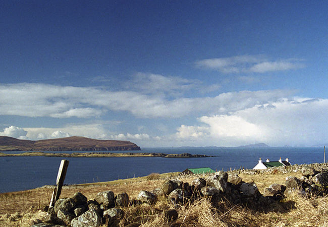 Travelling north along the Waternish road , spectacular views out across the Minch continue to unfold,