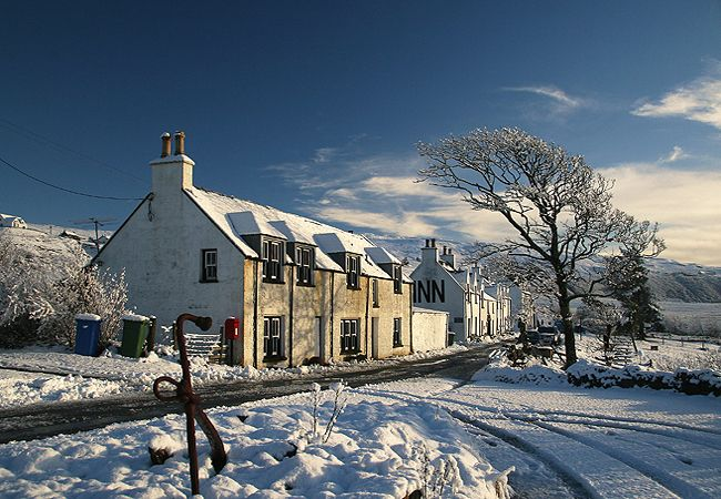 Stein in the snow, West House and the village
