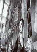 'Self-portrait, Disturbed Reflection Jurgen Bey Lamp', 2006  Black Biro 21cm x 30cm