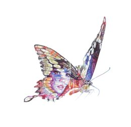 'Butterfly Lover Zhu Yingtai', original colour Biro drawing