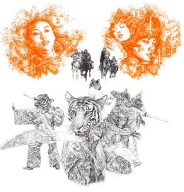 'Yin and Yang', South China Tiger, 2013 black and neon orange Biro Drawing