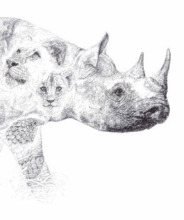 'RHINO', 2014 DETAIL OF BIRO DRAWING