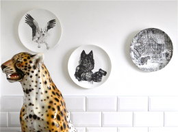 Wolves on the Wall, China Wall Art - Limited Edition Fine English China Coupe Plates