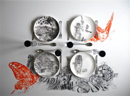 Fine Dining in the Company of Leopards and Tigers - Limited Edition Fine English China Coupe Plates