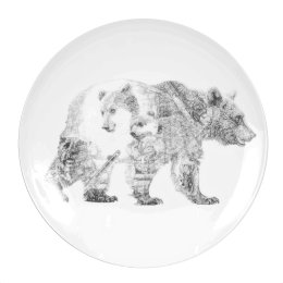 'Mummy Bear and Baby Bear', Brown Bears Limited Edition Fine English China Coupe Plate