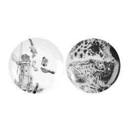 'Amur Leopard' Diptych Limited Edition Fine English China Coupe Plate