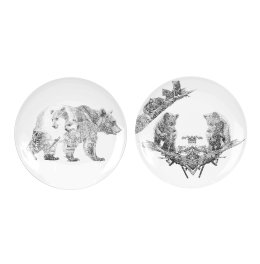 'Brown Bear' Diptych Limited Edition Fine English China Coupe Plate